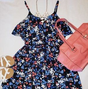 Elle Navy / Coral / Light Blue Midi Dress